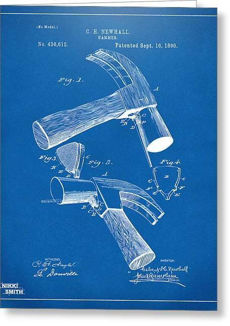 1890 Hammer Patent Artwork - Blueprint Greeting Card