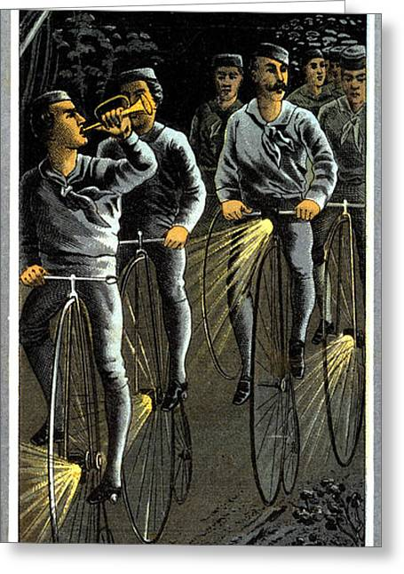 1890 Nocturnal Bike Team  Greeting Card by Historic Image