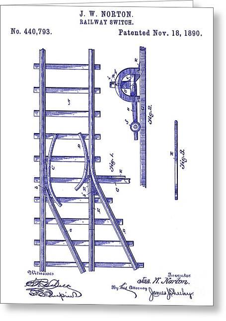1890 Railway Switch Patent Blueprint Greeting Card