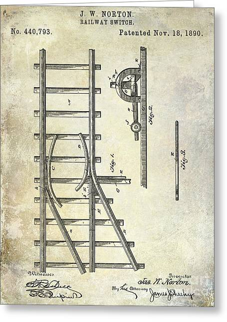 1890 Railway Switch Patent Drawing Greeting Card