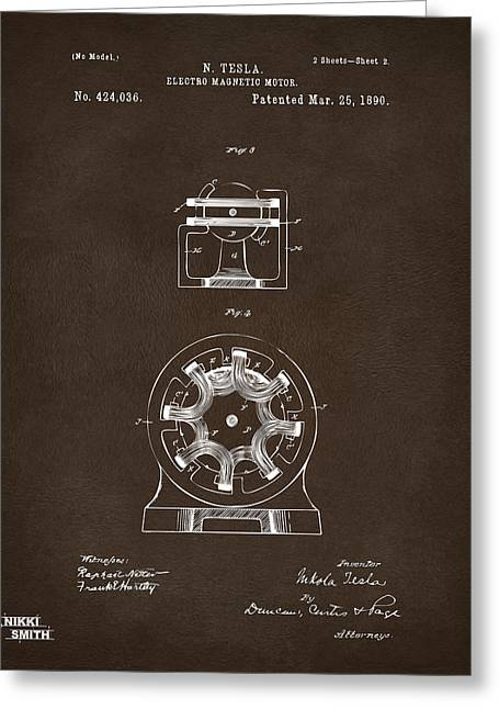 Greeting Card featuring the drawing 1890 Tesla Motor Patent Espresso by Nikki Marie Smith