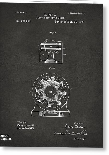 1890 Tesla Motor Patent - Gray Greeting Card by Nikki Marie Smith
