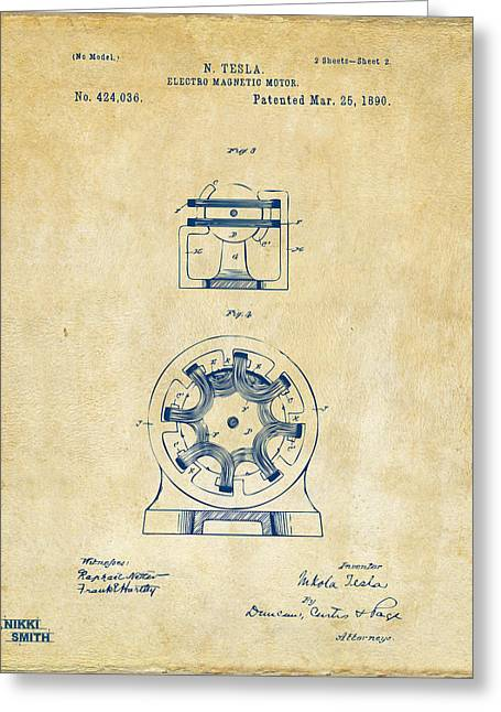 1890 Tesla Motor Patent - Vintage Greeting Card by Nikki Marie Smith