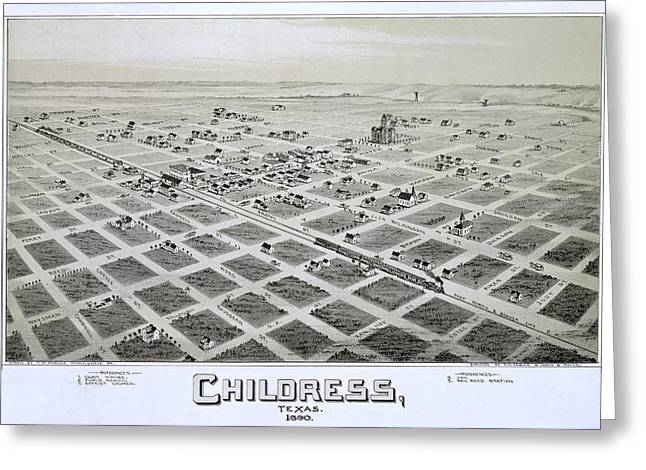 1890 Vintage Map Of Childress Texas Greeting Card by Stephen Stookey
