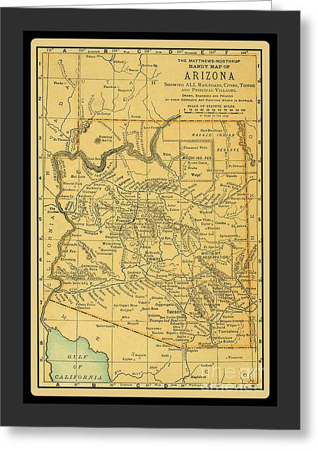 1891 Arizona Map Greeting Card