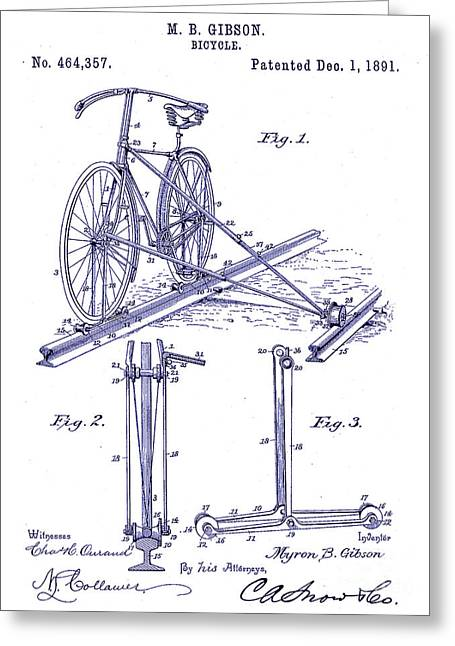 1891 Bicycle Patent Blueprint Greeting Card by Jon Neidert