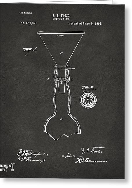 1891 Bottle Neck Patent Artwork Gray Greeting Card by Nikki Marie Smith