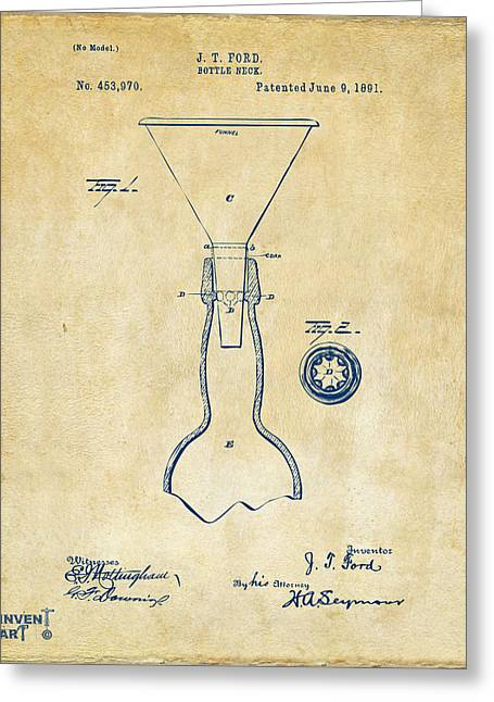 1891 Bottle Neck Patent Artwork Vintage Greeting Card