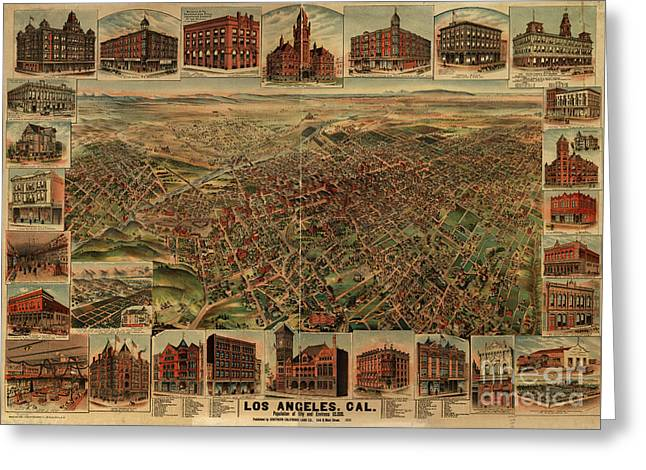 1891 Los Angeles California Vintage Map Greeting Card by Edward Fielding