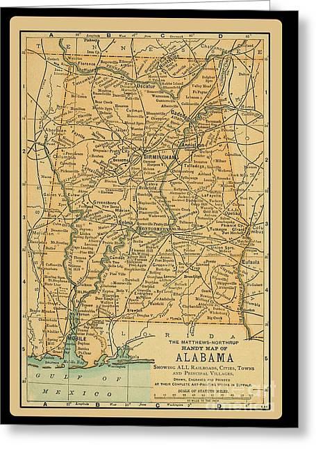 1891 Map Of Alabama Greeting Card