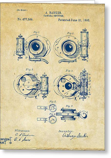 1892 Barker Camera Shutter Patent Vintage Greeting Card by Nikki Marie Smith