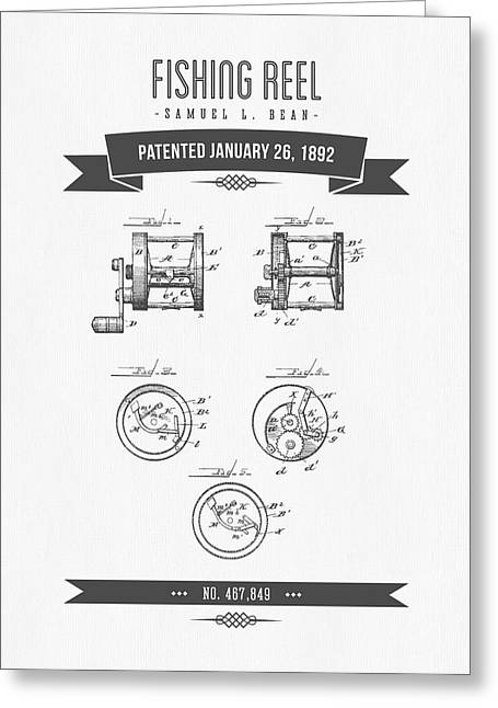 1892 Fishing Reel Patent Drawing Greeting Card by Aged Pixel