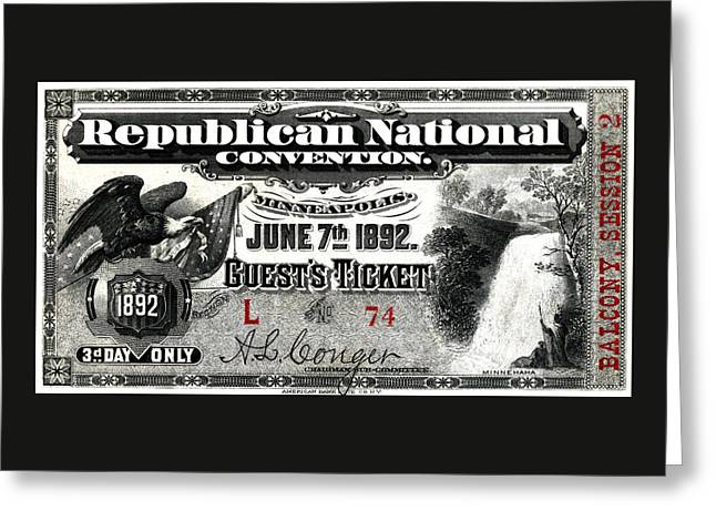 1892 Republican Convention Ticket Greeting Card