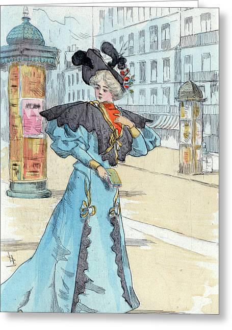 1892, Womens Fashion In Nineteenth-century Paris Greeting Card