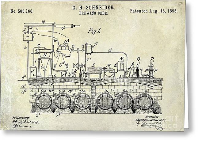 1893 Beer Brewing Patent Drawing Greeting Card by Jon Neidert