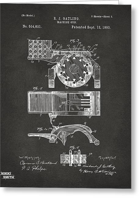 1893 Gatling Machine Gun Feed Patent Artwork - Gray Greeting Card by Nikki Marie Smith