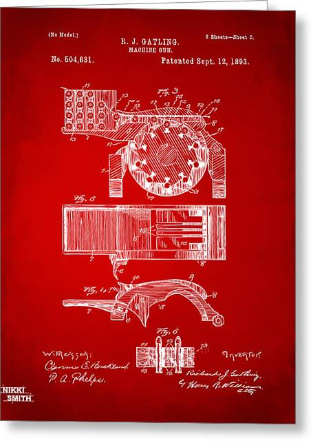 1893 Gatling Machine Gun Feed Patent Artwork - Red Greeting Card by Nikki Marie Smith