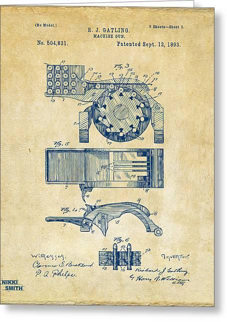 1893 Gatling Machine Gun Feed Patent Artwork - Vintage Greeting Card by Nikki Marie Smith