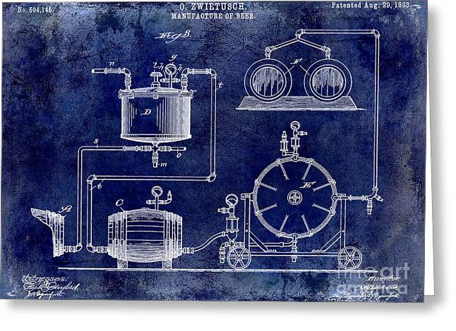 1893 Manufacture Of Beer Patent Drawing Blue Greeting Card by Jon Neidert
