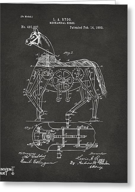 1893 Mechanical Horse Toy Patent Artwork Gray Greeting Card by Nikki Marie Smith