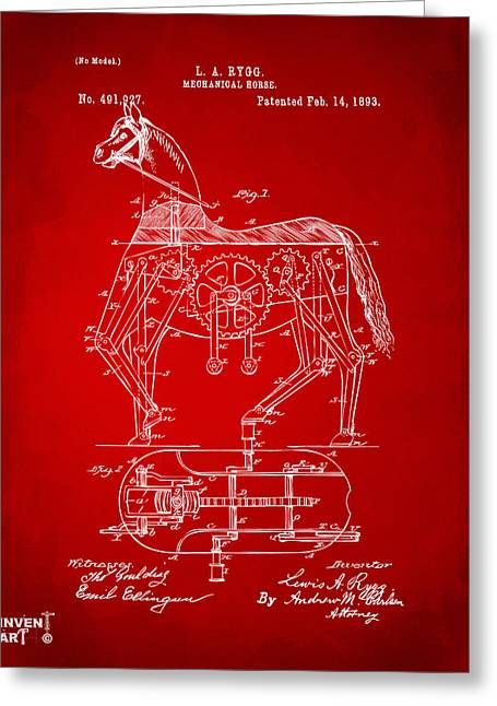 1893 Mechanical Horse Toy Patent Artwork Red Greeting Card by Nikki Marie Smith