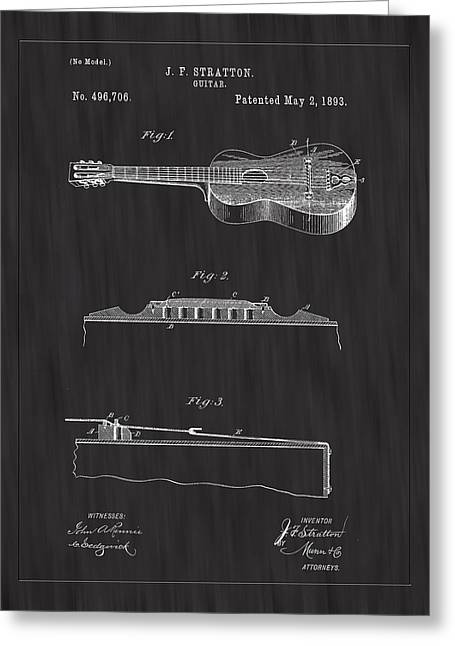1893 Stratton Guitar Patent Art - Bk Greeting Card by Barry Jones