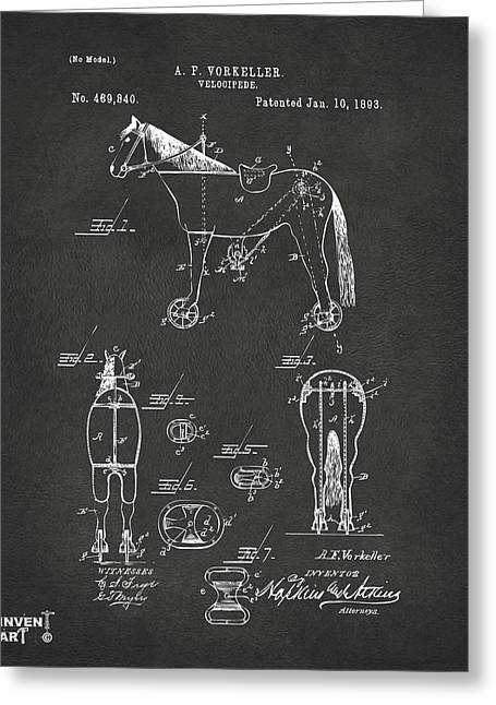 1893 Velocipede Horse-bike Patent Artwork Gray Greeting Card by Nikki Marie Smith