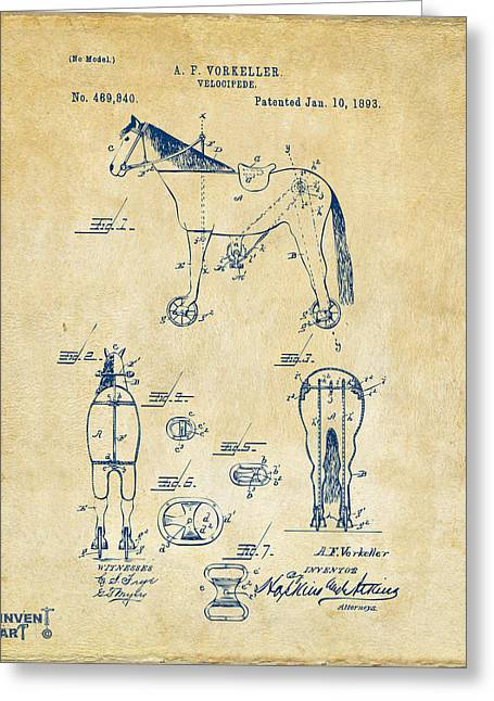 1893 Velocipede Horse-bike Patent Artwork Vintage Greeting Card by Nikki Marie Smith