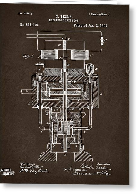 Greeting Card featuring the drawing 1894 Tesla Electric Generator Patent Espresso by Nikki Marie Smith