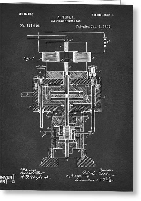 Greeting Card featuring the drawing 1894 Tesla Electric Generator Patent Gray by Nikki Marie Smith