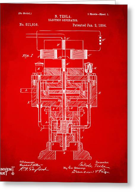 Greeting Card featuring the drawing 1894 Tesla Electric Generator Patent Red by Nikki Marie Smith