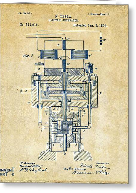 Greeting Card featuring the drawing 1894 Tesla Electric Generator Patent Vintage by Nikki Marie Smith