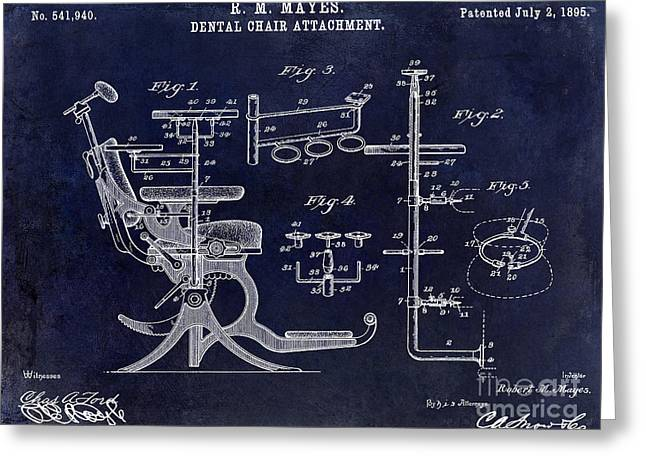 1895 Dental Chair Patent Drawing Blue Greeting Card by Jon Neidert