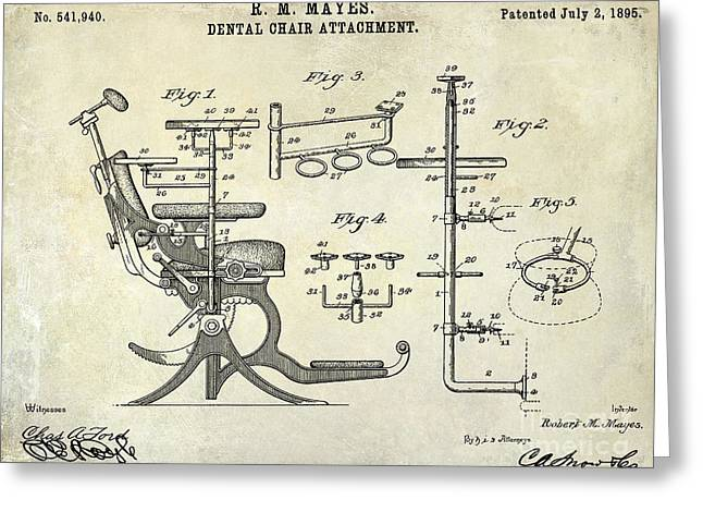 1895 Dental Chair Patent Drawing  Greeting Card by Jon Neidert