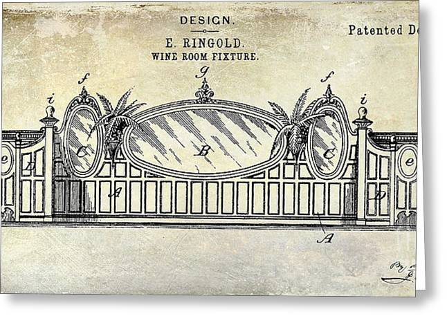 1895 Wine Room Fixture Design Patent Greeting Card by Jon Neidert
