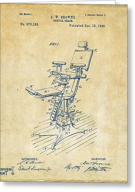 1896 Dental Chair Patent Vintage Greeting Card by Nikki Marie Smith
