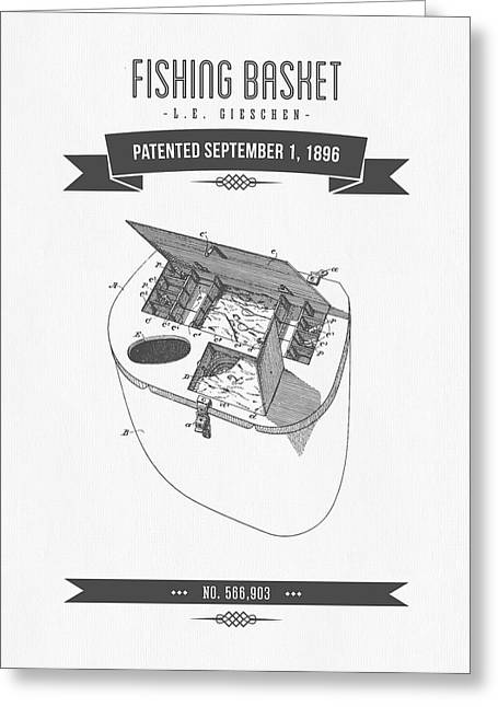 1896 Fishing Basket Patent Drawing Greeting Card by Aged Pixel