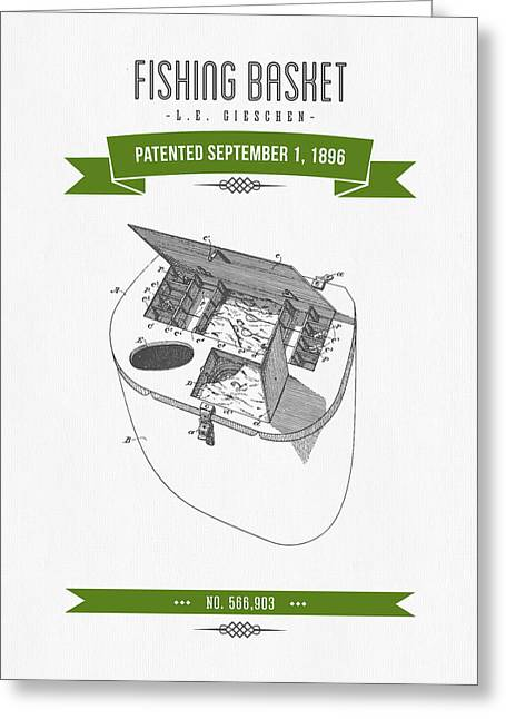 1896 Fishing Basket Patent Drawing - Green Greeting Card by Aged Pixel
