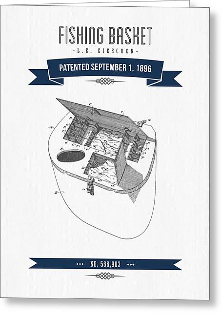 1896 Fishing Basket Patent Drawing - Navy Blue Greeting Card by Aged Pixel