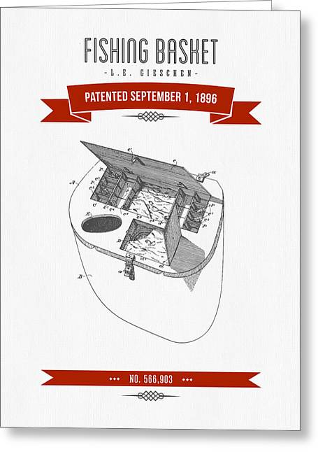 1896 Fishing Basket Patent Drawing - Red Greeting Card by Aged Pixel