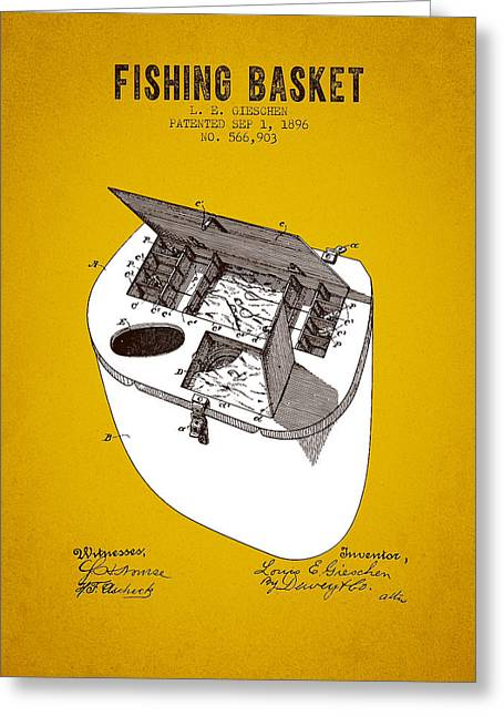 1896 Fishing Basket Patent - Yellow Brown Greeting Card by Aged Pixel