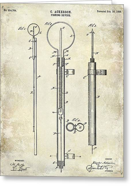 1896 Fishing Device Patent Drawing Greeting Card by Jon Neidert