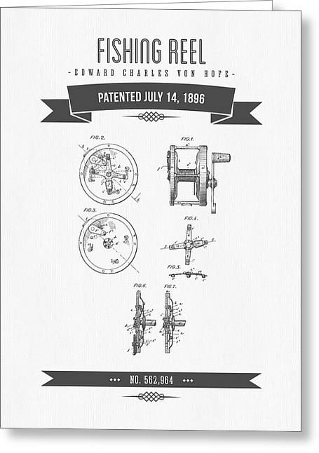 1896 Fishing Reel Patent Drawing Greeting Card by Aged Pixel