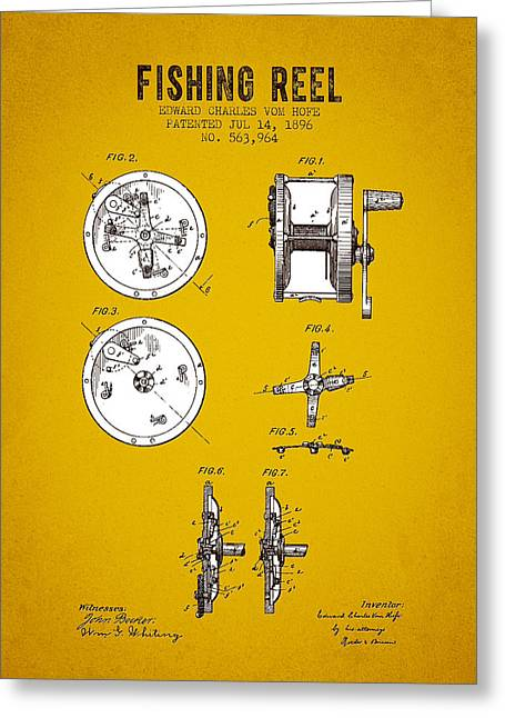 1896 Fishing Reel Patent - Yellow Brown Greeting Card by Aged Pixel