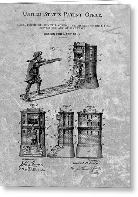 1896 Toy Bank Patent Charcoal Greeting Card by Dan Sproul