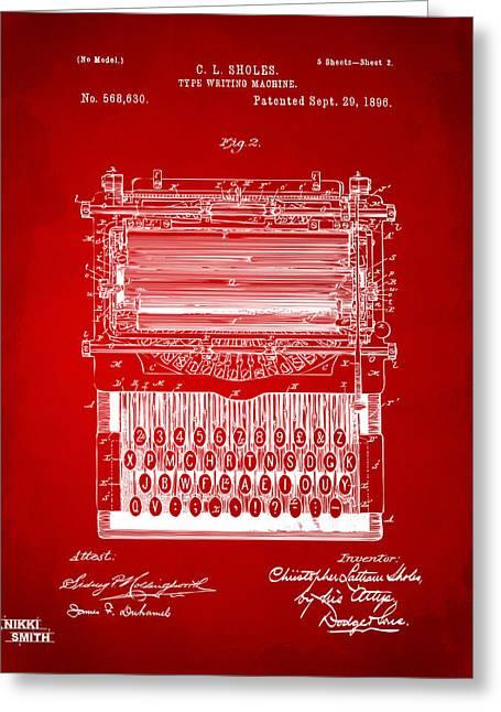 1896 Type Writing Machine Patent Artwork - Red Greeting Card