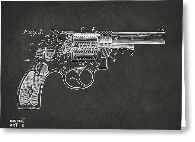 1896 Wesson Safety Device Revolver Patent Minimal - Gray Greeting Card by Nikki Marie Smith