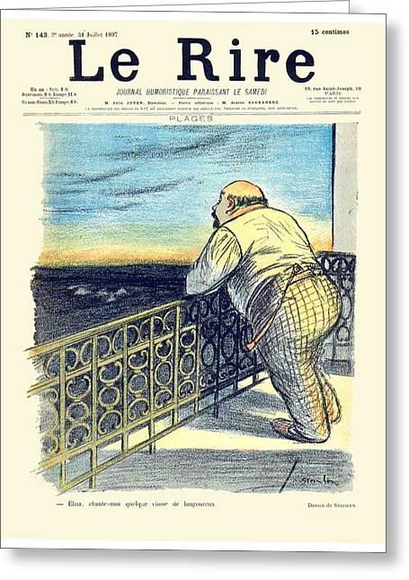 1897 - Le Rire Journal Humoristique Paraissant Le Samedi Magazine Cover - July 31 - Color Greeting Card by John Madison