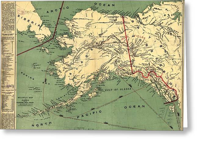 Greeting Card featuring the photograph 1897 Map Of Alaska by Charles Beeler