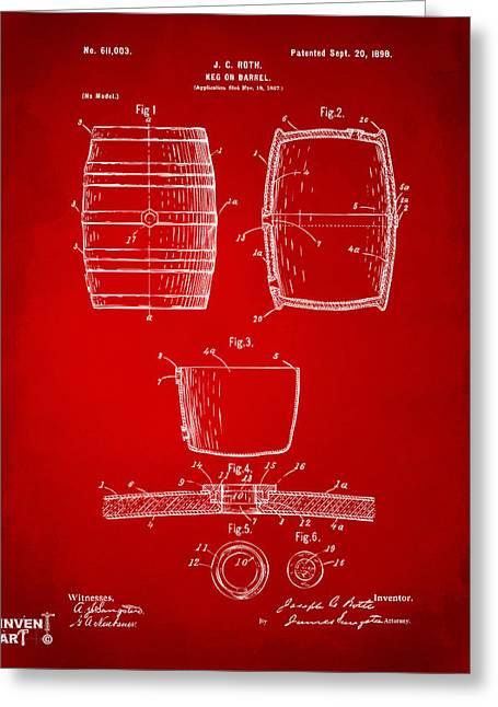 1898 Beer Keg Patent Artwork - Red Greeting Card